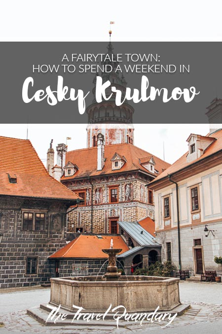 Pin Photo: A fountain and castle tower of Cesky Krumlov State Castle and Chateau