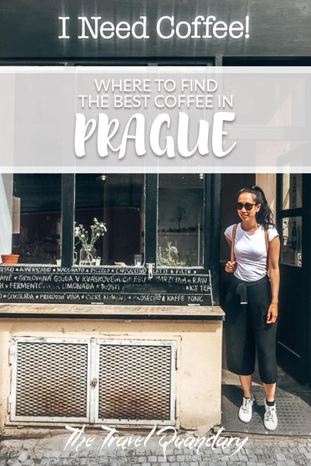 Pin to Pinterest: Jasmine stands outside I Need Coffee!, one of the third wave coffee shops in Prague