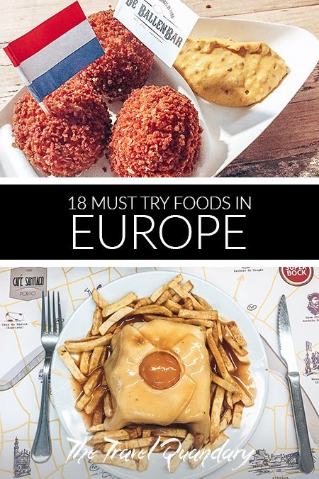 Pin to Pinterest: Bitterballen from the Netherlands and francesinha from Portugal