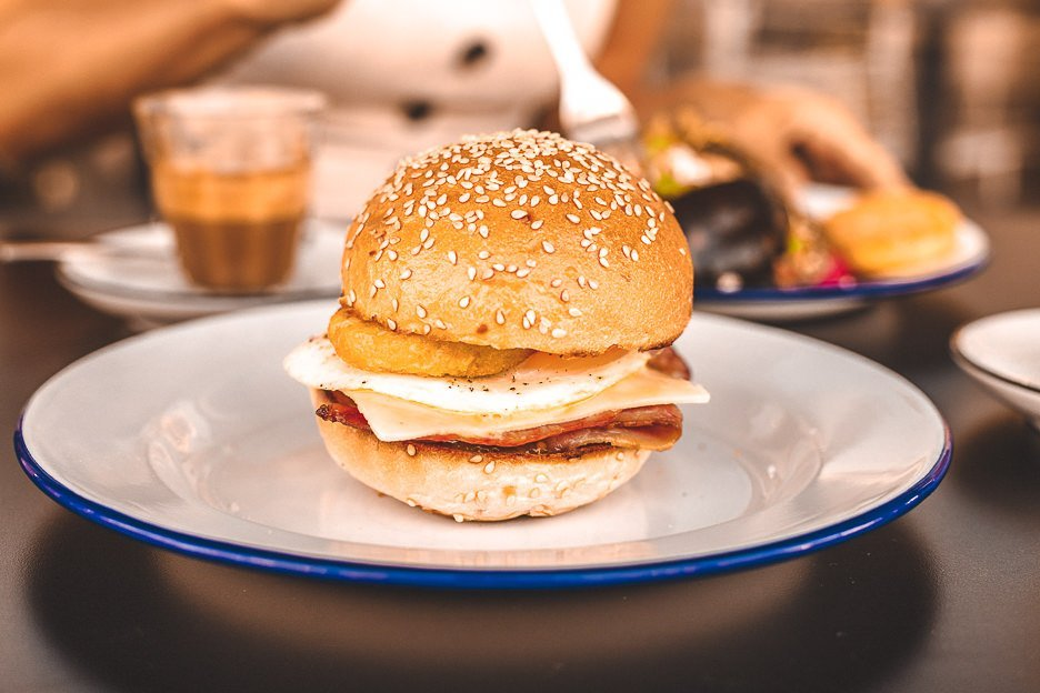 Bacon burger at Bluntys Kangaroo Point, Brunch in Brisbane