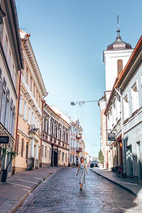 Strolling the streets at daybreak, Vilnius