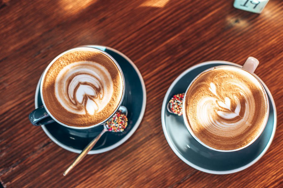 Two large flat whites at The Wired Owl Co, Brisbane Northside
