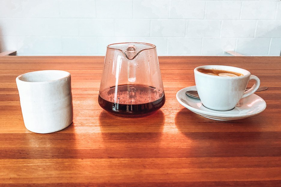 Filter coffee and coffee white at Coffee Supreme. Specialty Coffee in Brisbane southside
