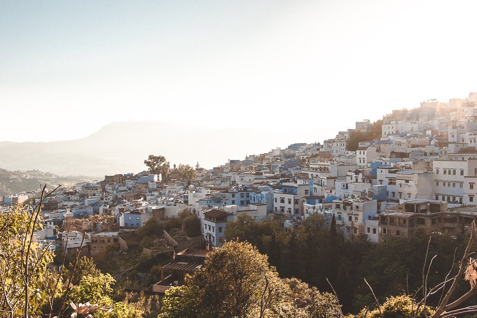 View of Chefchaouen at sunset Morocco