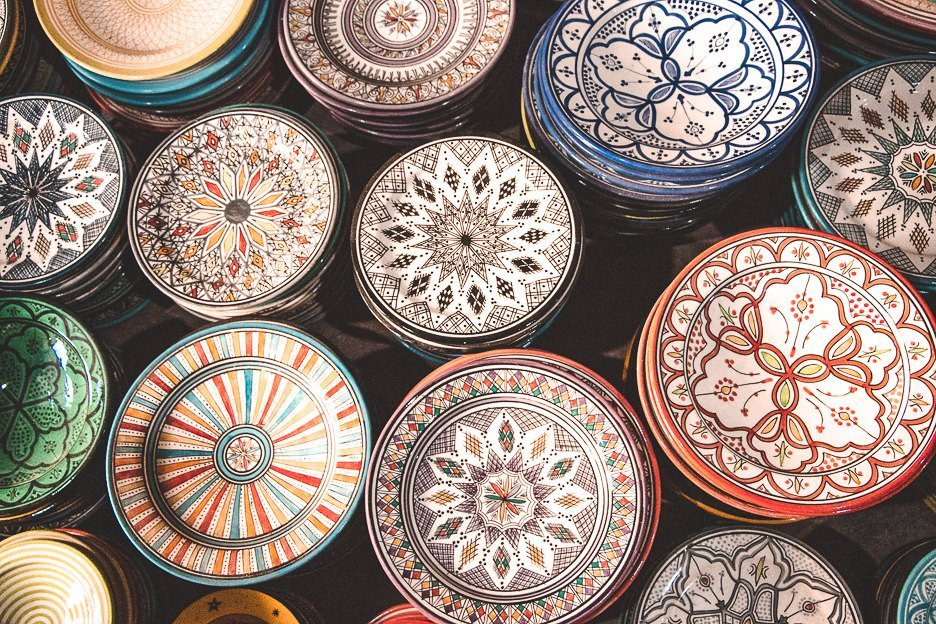 Colourful ceramic plates in Essaouira Morocco