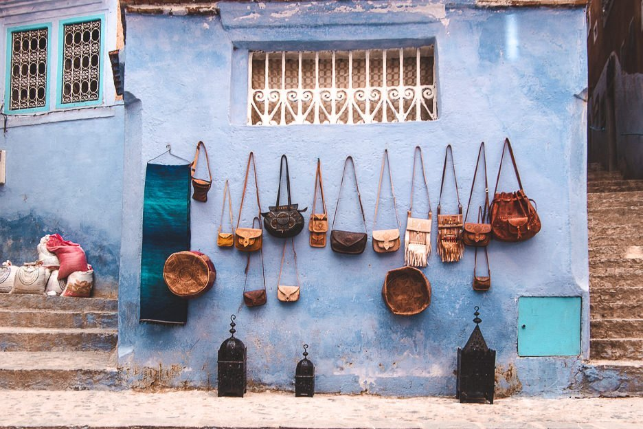 Leather bags for sale in Chefchaouen Morocco