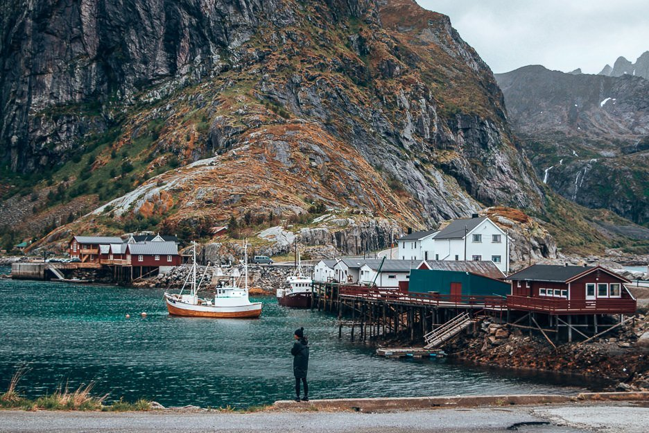 Jasmine standing at the harbour of Hamnoy - Lofoten Islands, Norway