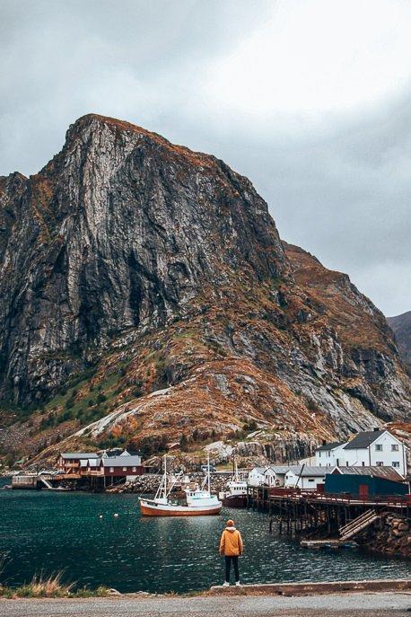 Standing at the harbour of Hamnoy - Lofoten Islands, Norway