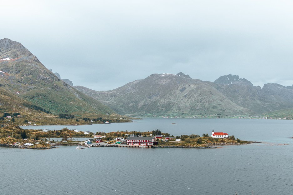 Small fishing villages from afar - Lofoten Islands, Norway