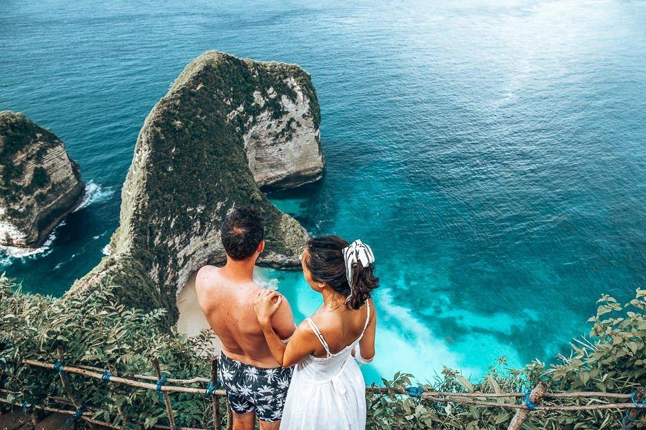 Standing above Kelingking Beach, Nusa Penida, Bali Gallery
