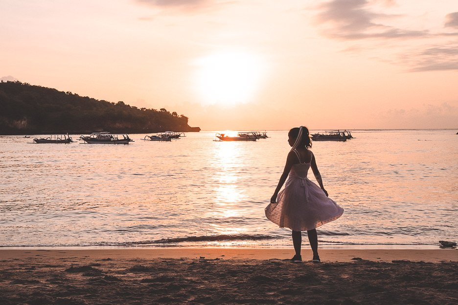 Twirling at sunset at Crystal Bay Beach, Nusa Penida, Bali Gallery