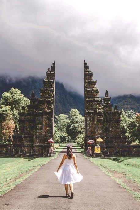 Jasmine walking in front of Handara Gate, Bali Gallery