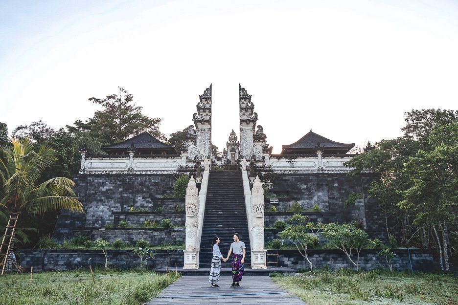Standing in front of the gates at Temple of Lempuyang Lehur, Bali Gallery