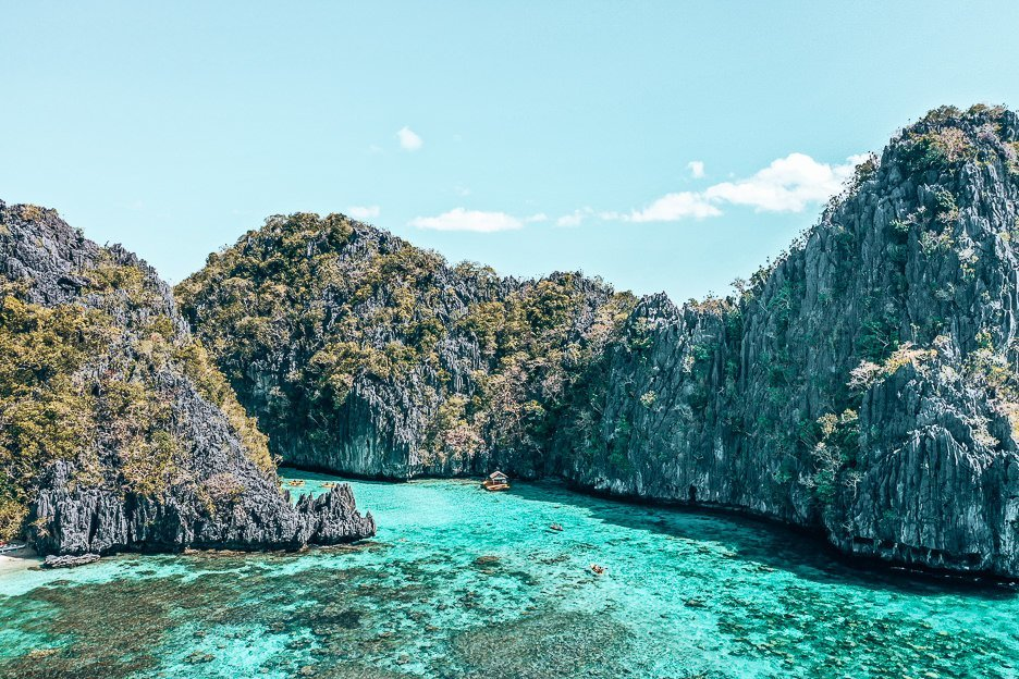 An aerial view of the entrance to Big Lagoon, El Nido