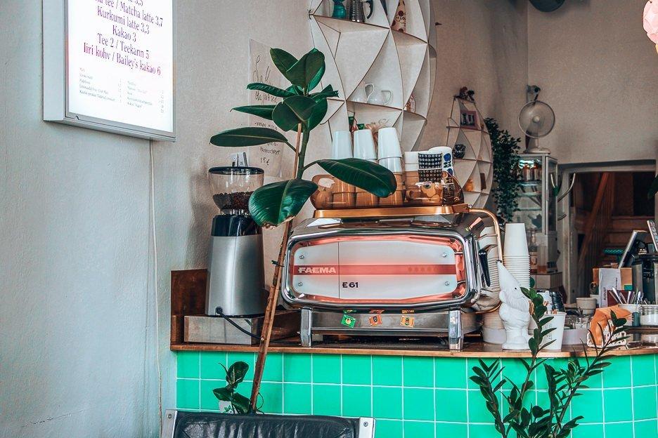 Coffee machine at Kohvik August, Tallinn