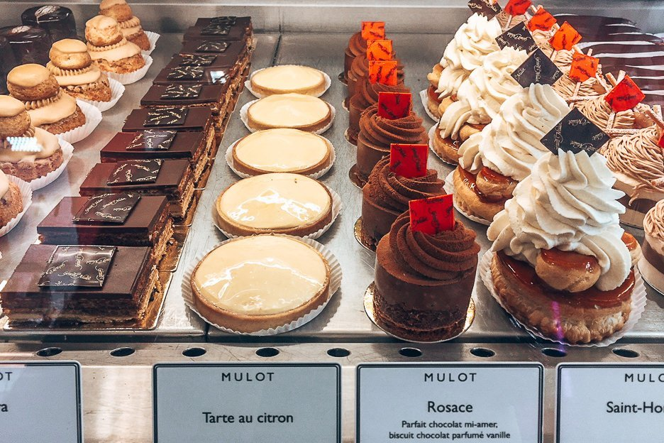 Desserts lined up at Gerard Mulot, Patisserie in Paris