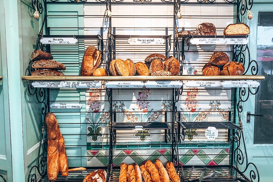 Loaves of bread at Boulangerie Bo, Patisserie in Paris