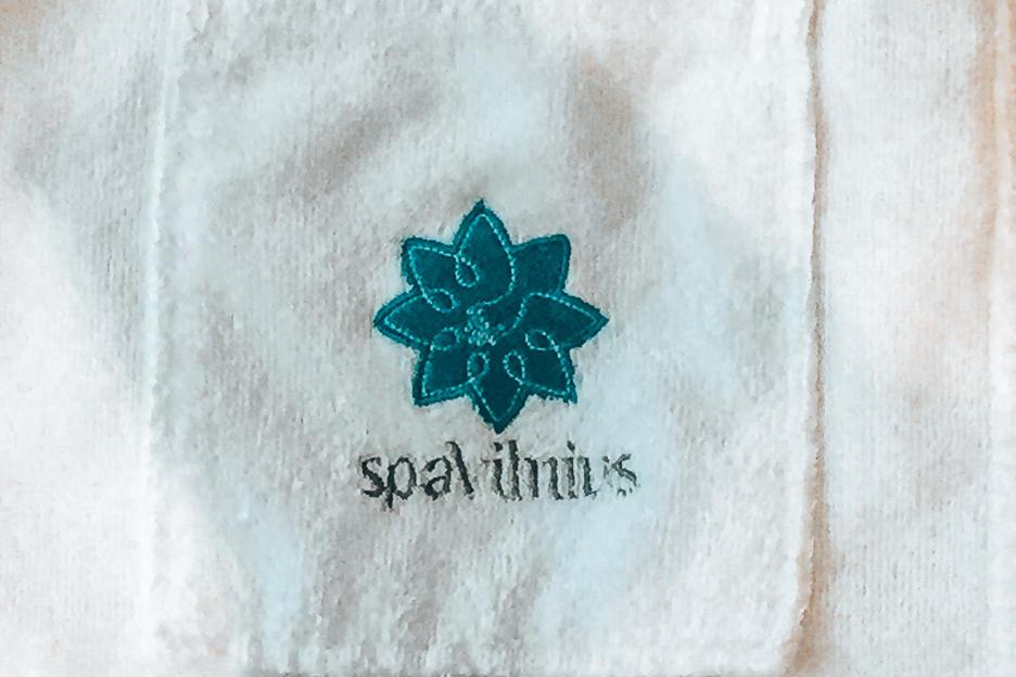 Spa Vilnius Logo on white robe, Druskininkai
