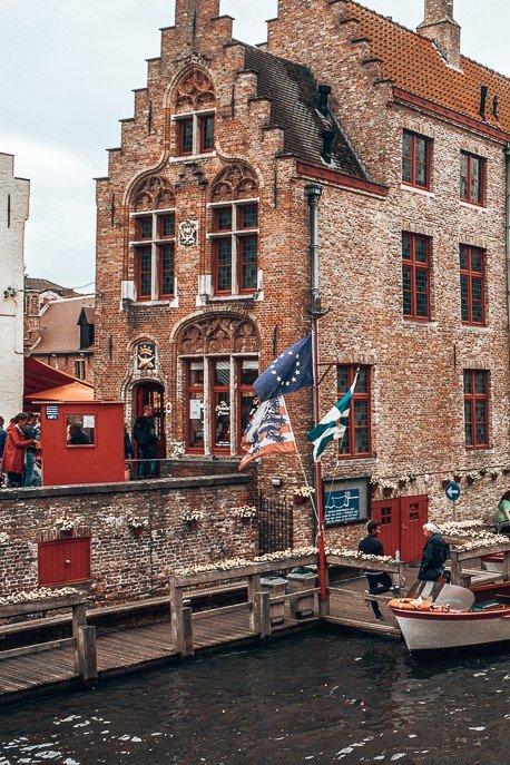 Red brick facades in Bruges Belgium