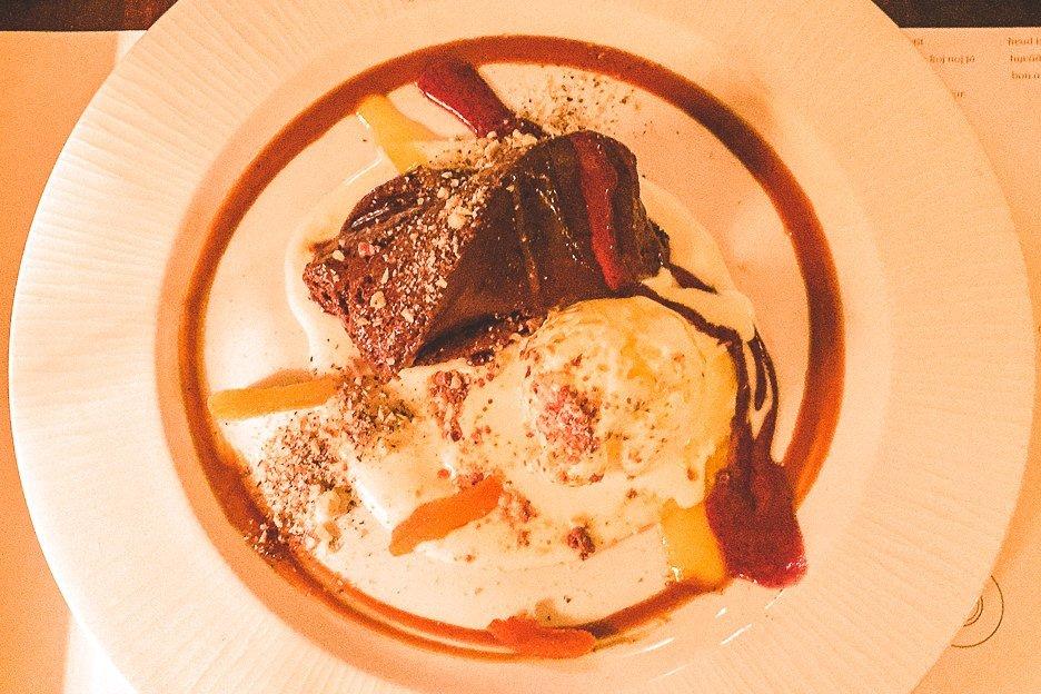 Chocolate pudding, ice cream and caramel sauce at Konoba MaToni, Split Croatia