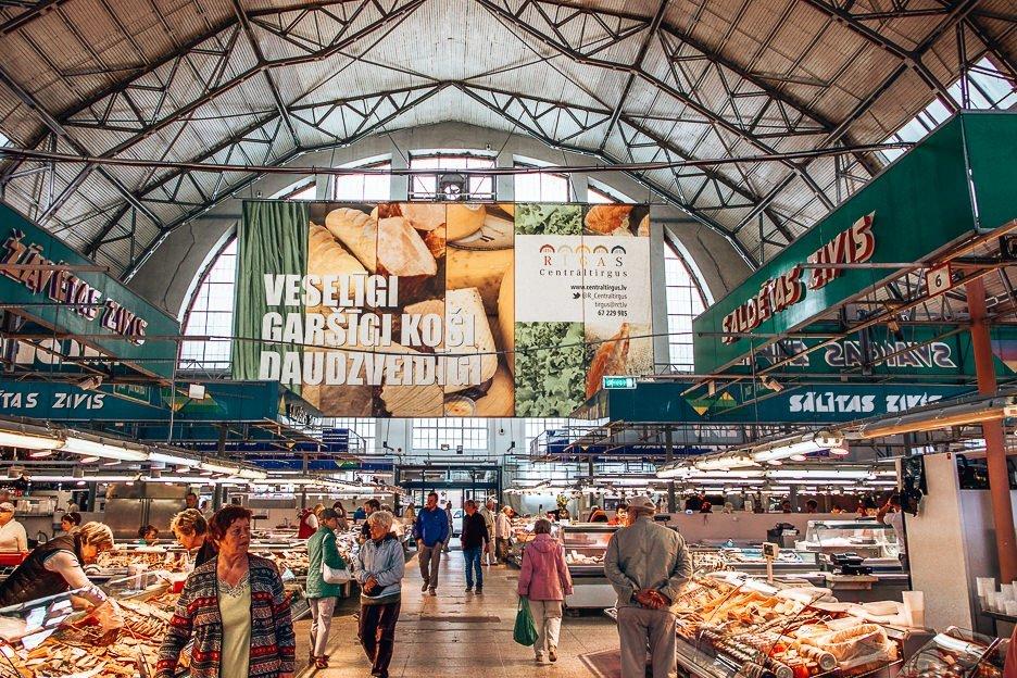 Vendors inside the Riga Central Market, Riga
