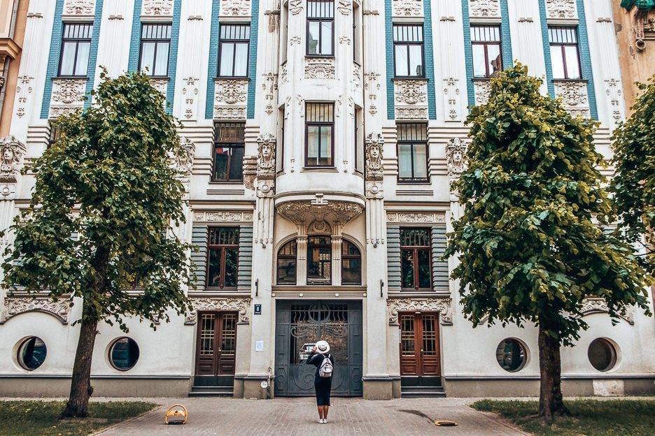 Admiring art nouveau details on Albert Iela, Riga