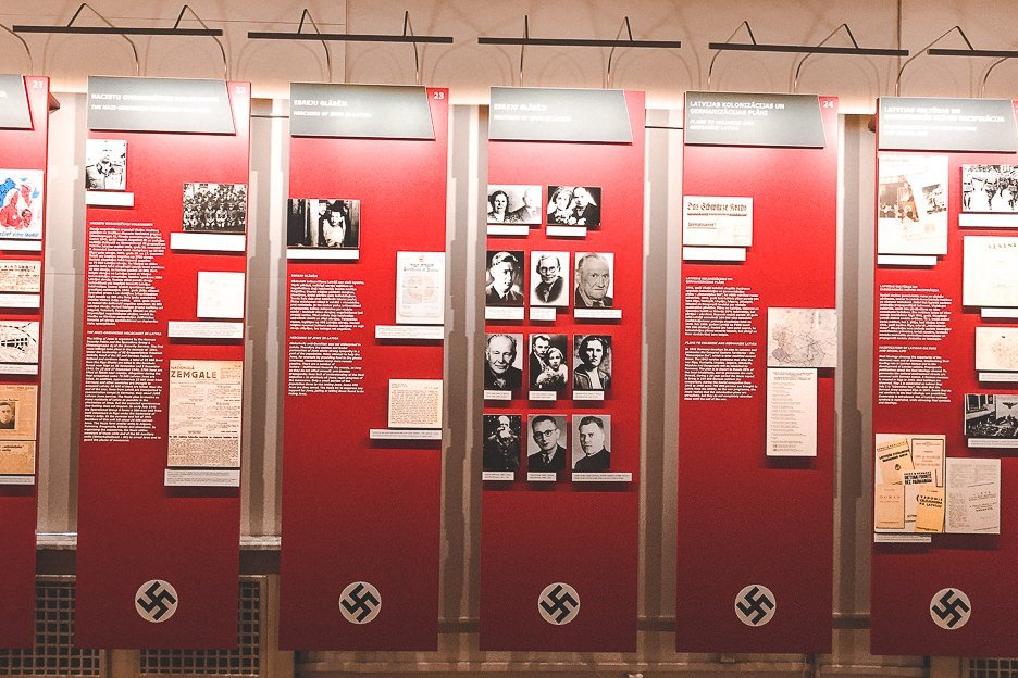 Reading history at the Museum of the Occupation of Latvia - Riga, Latvia