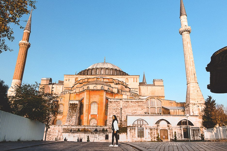 Jasmine poses in front of the Hagia Sofia, Istanbul