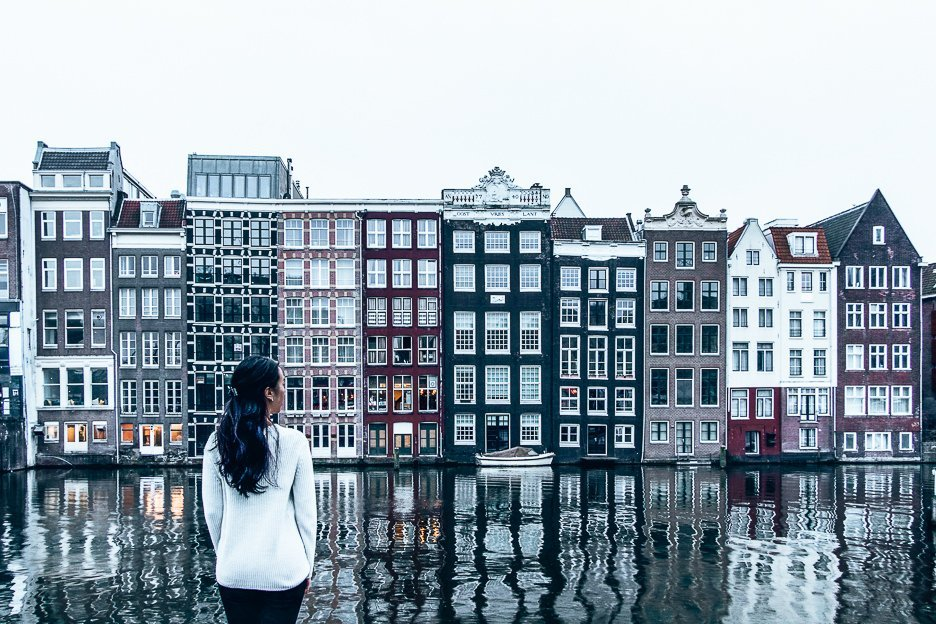 Facing the gingerbread houses at Damrak, Amsterdam