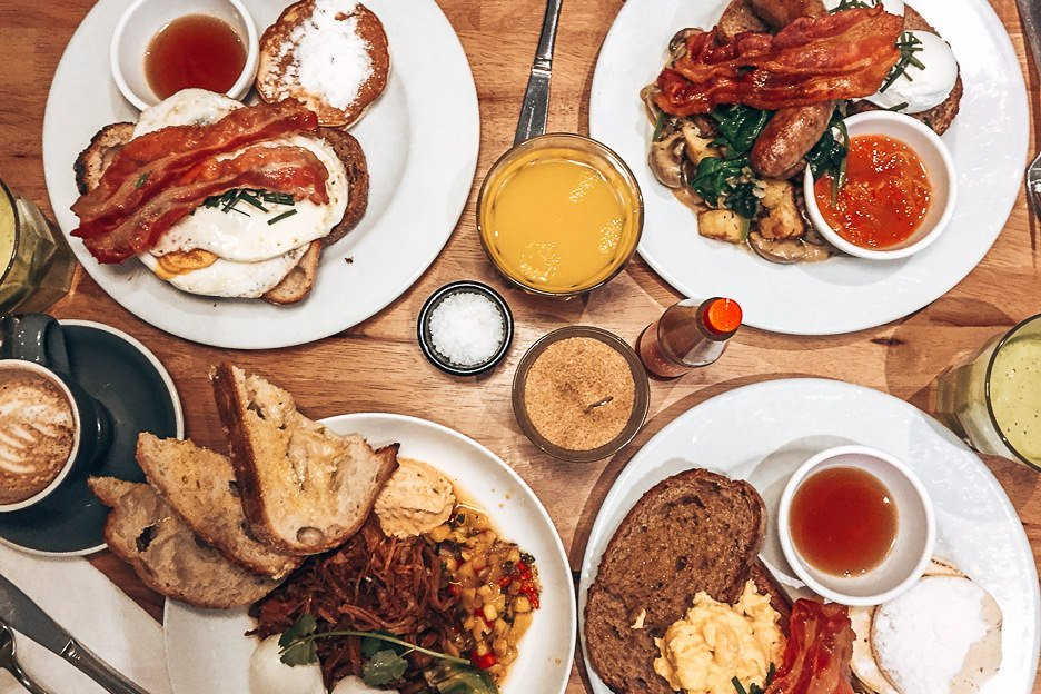 Four big breakfasts at Bakers and Roasters, Amsterdam