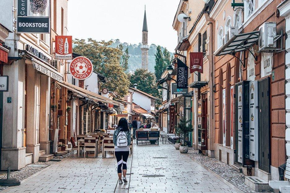 Walking through the quiet streets of Sarajevo in Bosnia & Herzegovina