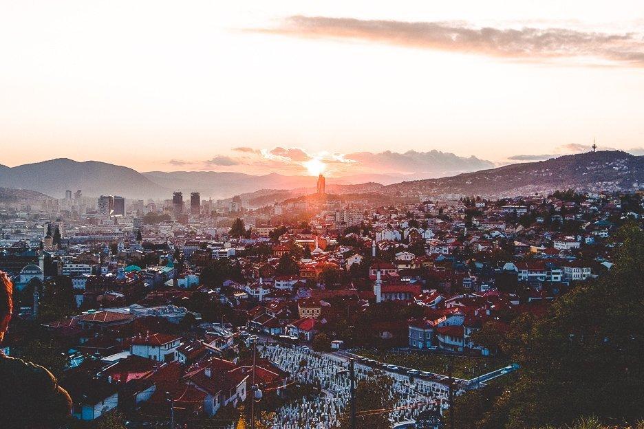 Sunset over Sarajevo from the Yellow Bastion, Bosnia & Herzegovina