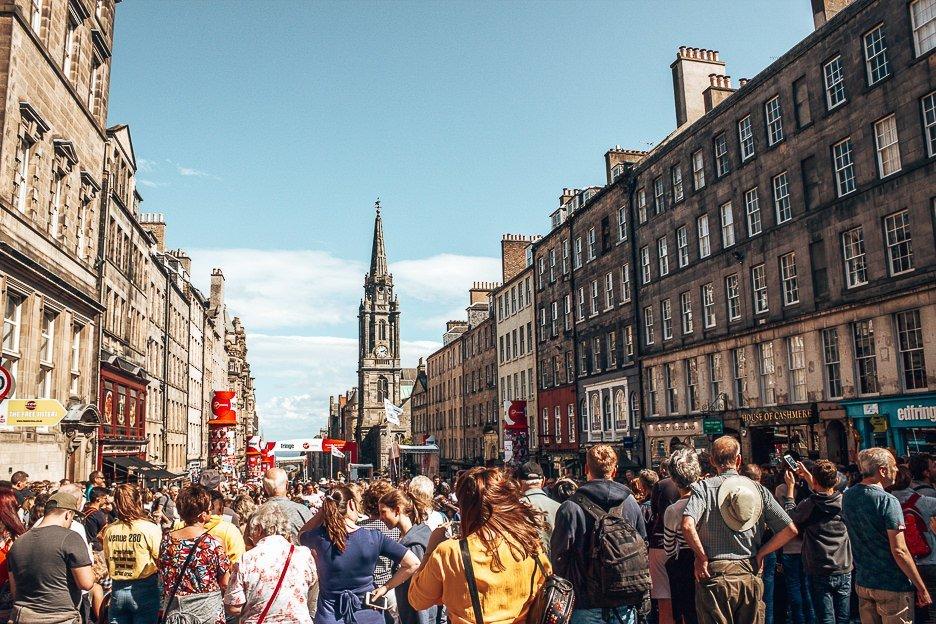 Crowds gather along the Royal Mile during Edinburgh Fringe Festival, Edinburgh