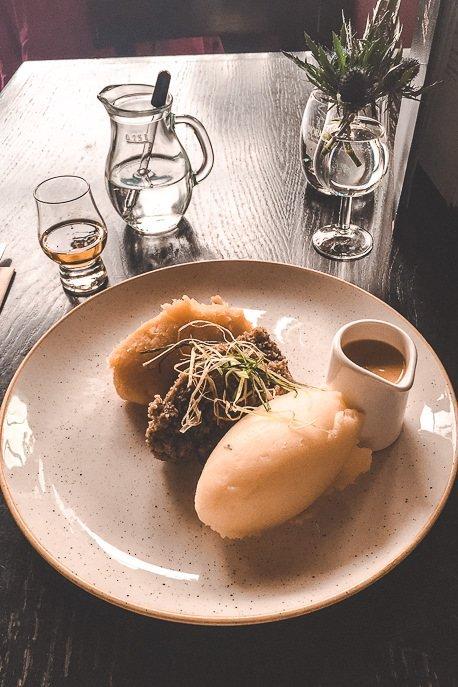 Potato, haggis and gravy at the Whiski Rooms, Edinburgh