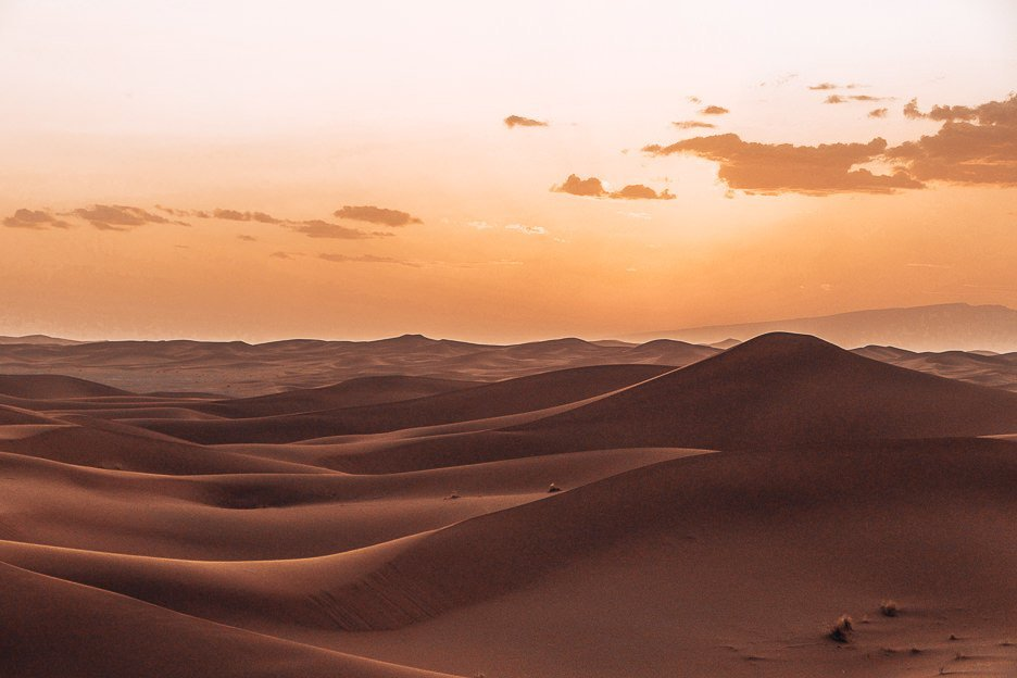 Sunset over the dunes of the Sahara Desert, Morocco