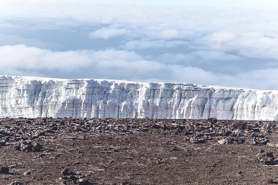 Rebmann and Retzel glaciers from Uhuru Peak, Mt Kilimanjaro