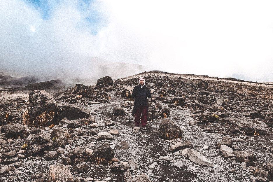 Walking down the Mweka Trail after summiting Mt Kilimanjaro