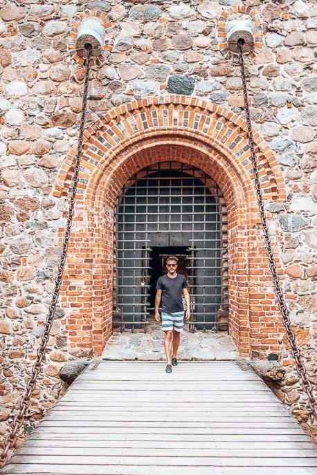 Walking across the drawbridge at Trakai Castle, Vilnius