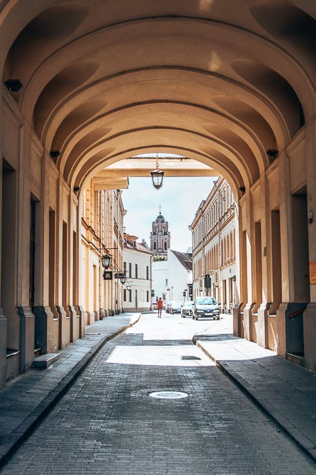 Underneath the arches on the streets of Vilnius, Lithuania