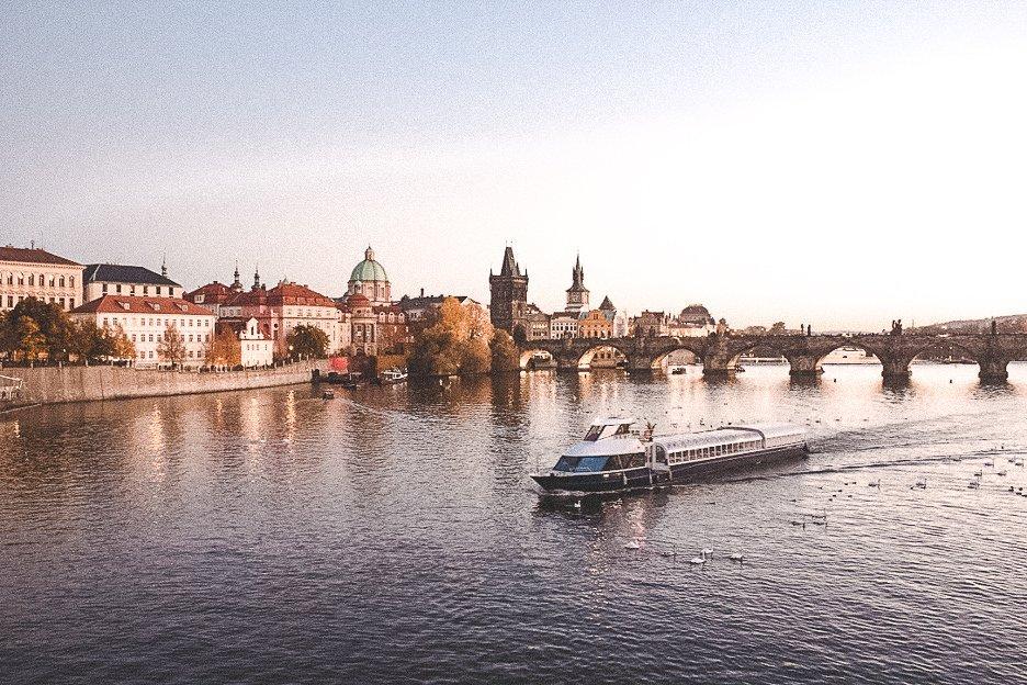 Boat cruising the Vlatva River, Prague