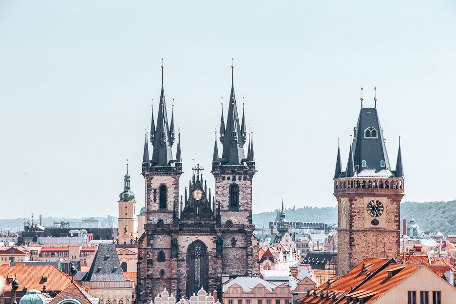 View of Old Town Hall from the rooftops, Prague