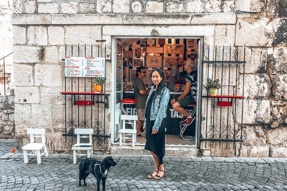Jasmine in front of 4coffee soul food, Split
