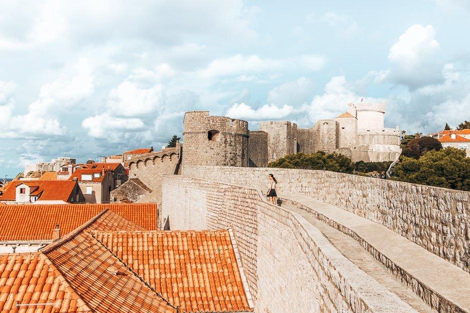 Jasmine walking the Old City Walls of Dubrovnik, Croatia