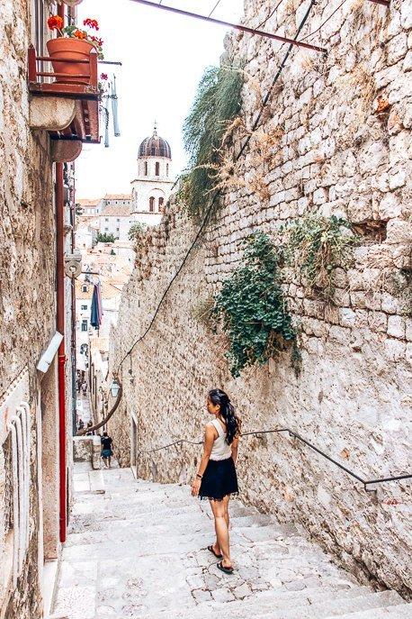 Jasmine on top of a stairway in Dubrovnik Old Town - Croatia