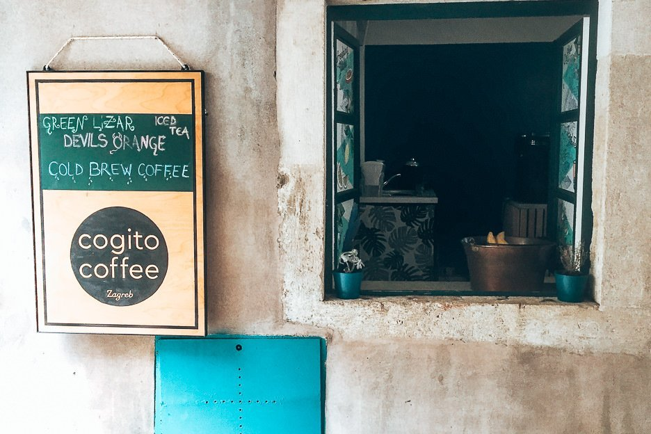 The front of Cogito Coffee, Dubrovnik Croatia