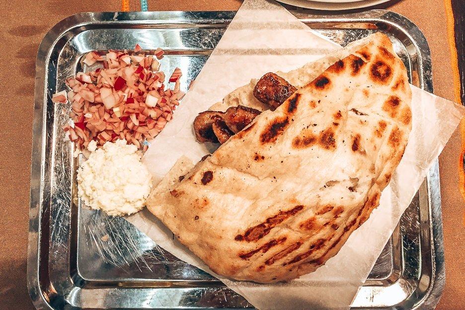 Chipati and salad at Taj Mahal Restaurant, Dubrovnik