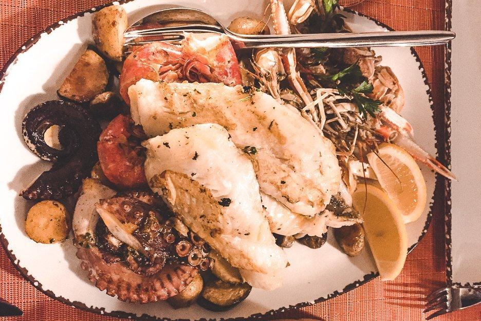 Seafood platter at Dalmatino, Dubrovnik Croatia