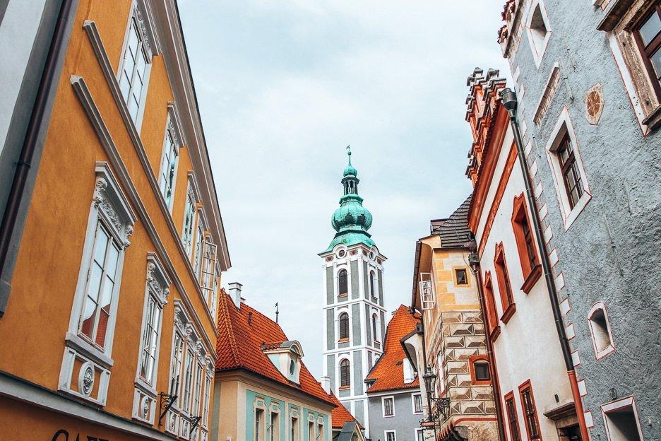 Colourful building facades of Cesky Krumlov, Czech Republic