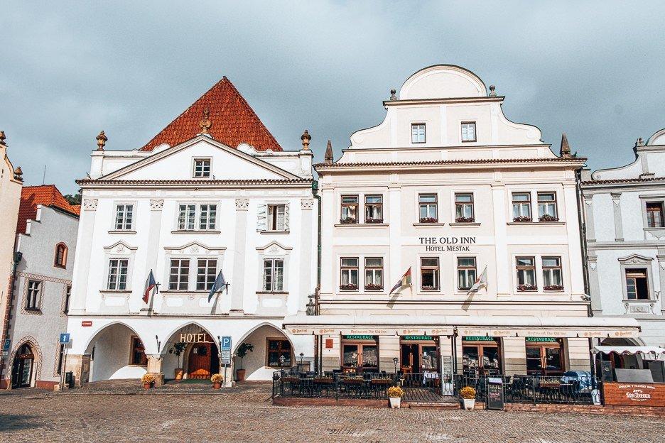 White buildings of Nam Svornosti Square, Cesky Krumlov
