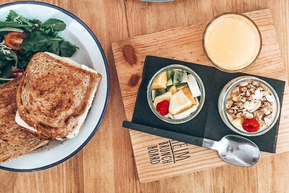 Toasted sandwich, granola and yoghurt pot at Heim Cafe, 3 days in Lisbon, Portugal